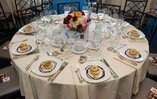 Gala table, set, with appetizers.