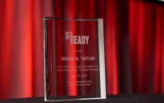 Mark Tatum gala commemorative glass trophy.