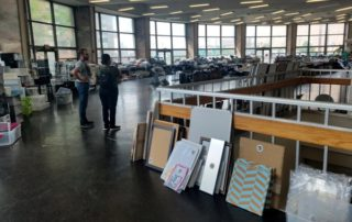 Grad Bag supplies are laid out in a Brookdale Campus commons room at the NYC Transition Day.